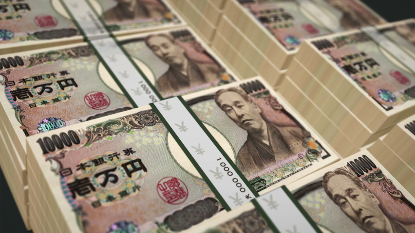 Japanese Yen money pack loop 3d animation. Camera over the 10000 JPY banknote bundle stacks. Loopable seamless concept of finance, economy crisis, market, business recession, Japan bank, debt and tax. Royalty-Free Stock Footage #1061638936