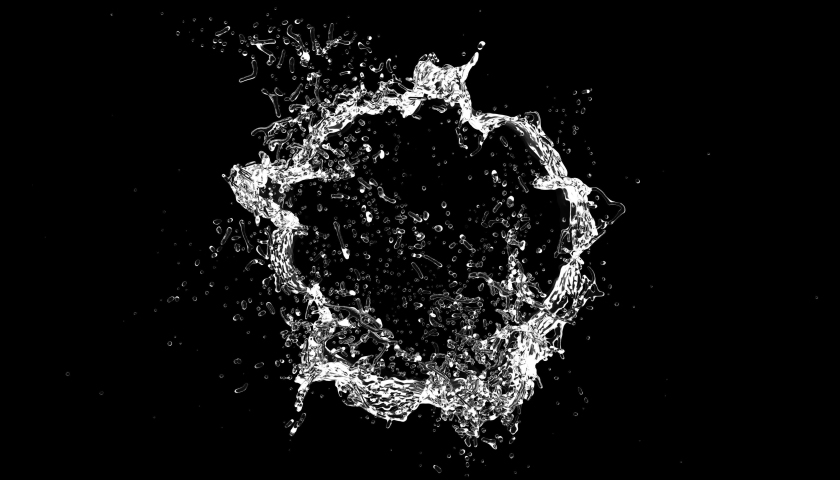 Circular Water Explosion with Splashes isolated 4k with Alpha Channel