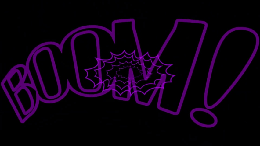Animated Comic Text Speech. Icon Lettering of Boom! Explosion Pink Single Word. Loop Seamless Stock Footage. 3D Graphic