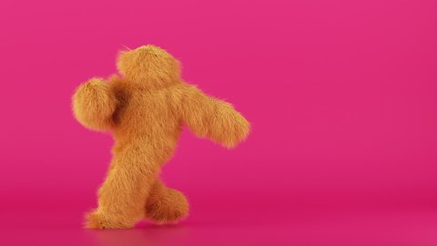 3d cartoon character hairy beast dancing hip hop over pink background, person wearing yellow furry monster costume, funny mascot looping animation, modern minimal seamless motion design