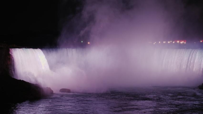 The waterfall of the horseshoe. Niagara Falls with night illumination