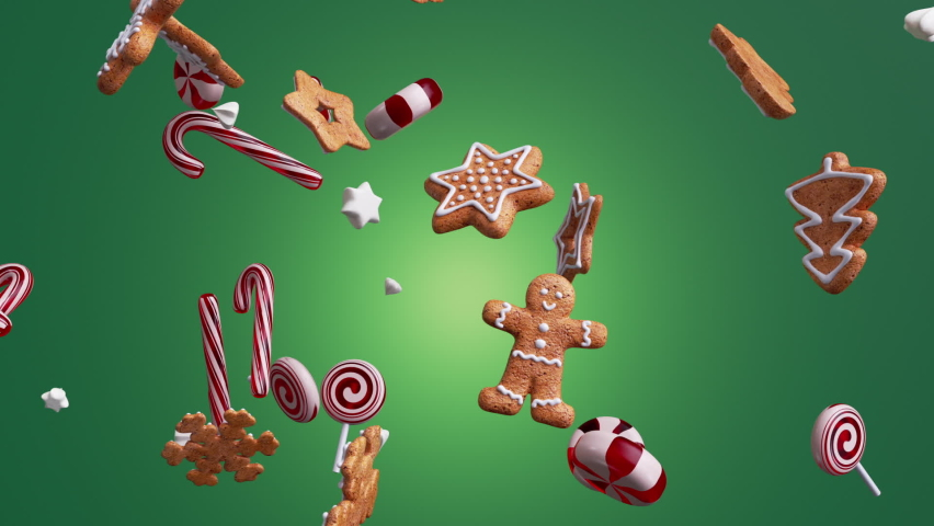3d holiday animation with Christmas ornaments balls cookies candies biscuits fall spin and rotate, isolated on green background. Royalty-Free Stock Footage #1061673274