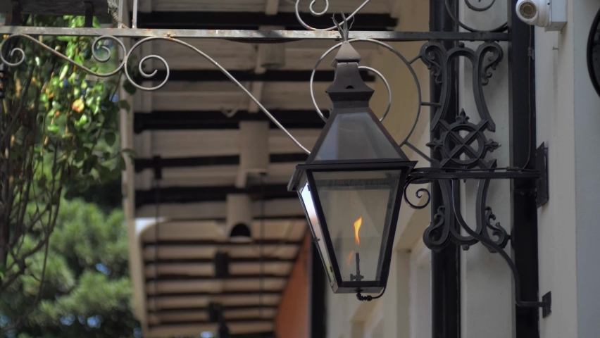 Gas Lantern In New Orleans French Quarter