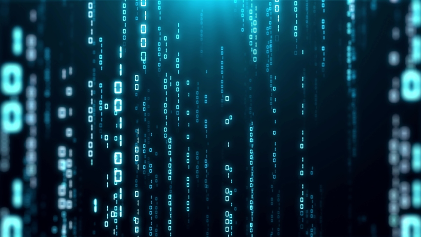 Binary Code Matrix Background With Numbers Moving Downward On Screen - Digital Data Stream Effect - animation Royalty-Free Stock Footage #1061696992