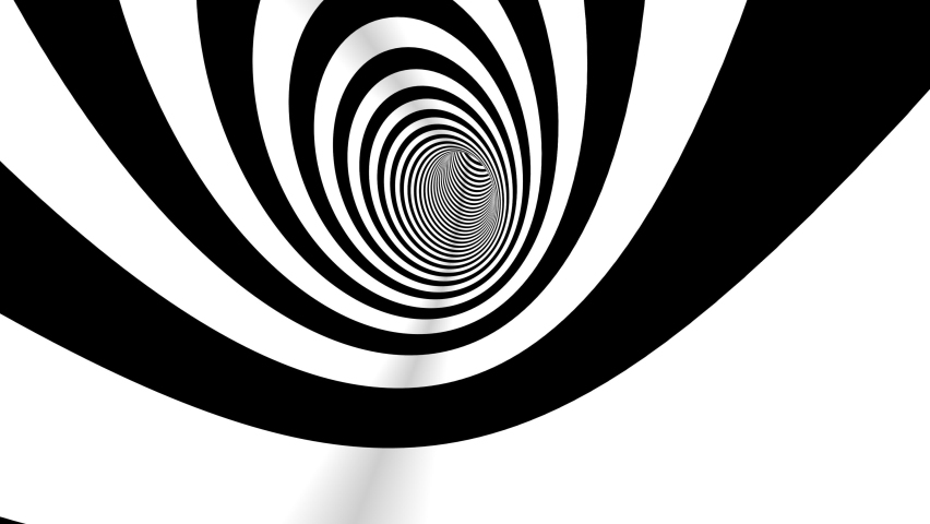 4k Seamless loop. Abstract black and white three dimensional geometrical wormhole motion graphics. Striped optical illusion. Black and white optical illusion tunnel. Surrealism lines moving.