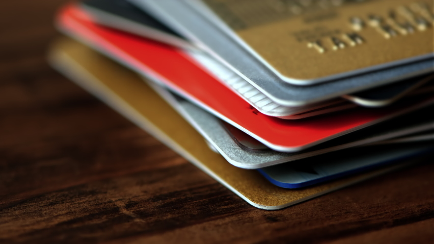 Time lapse of stack of credit cards close up. Royalty-Free Stock Footage #1061718166