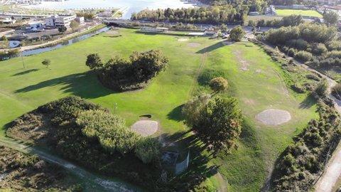 Aerial drone 4k cinematic shot of a golf course in Split, Croatia