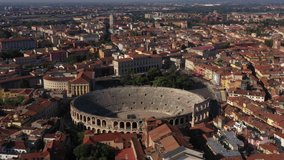 Aerial view of Verona city center, Italy. The historical part of the city of Verona. City panoramic landscape, Ponte Pietra Verona. Aerial drone panoramic video from iconic city of Verona.
