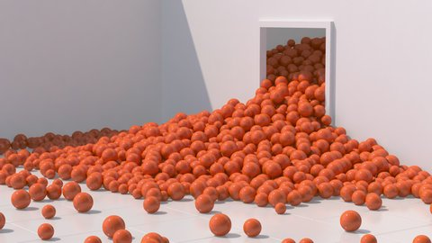 Orange glossy balls falling and rolling. White room, hard light. Abstract animation, 3d render.