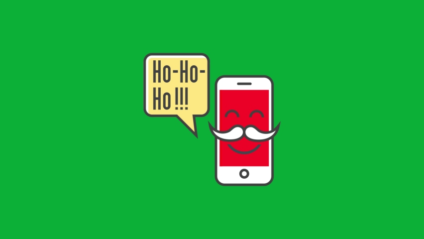 Santa Message - Santa Claus laugh Via smartphone - Contact Santa - Cartoon vector 4K animation on Green screen background | Shutterstock HD Video #1061742937