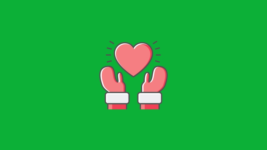 Christmas Love Icon - Santa Claus Give Love - Hands Holding Heart - Cartoon vector 4K animation on Green screen background - Family love During Holidays spread love sign on Chroma key background  | Shutterstock HD Video #1061742946
