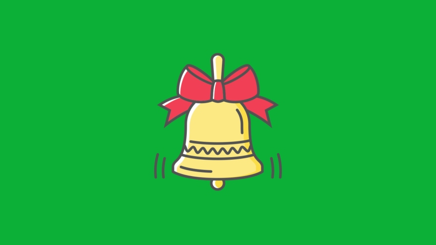 Christmas Bell Icon - Christmas Golden Bell with red ribbon - Cartoon vector 4K animation on Green screen background - Jingle bell Sign on Chroma key background  | Shutterstock HD Video #1061742949