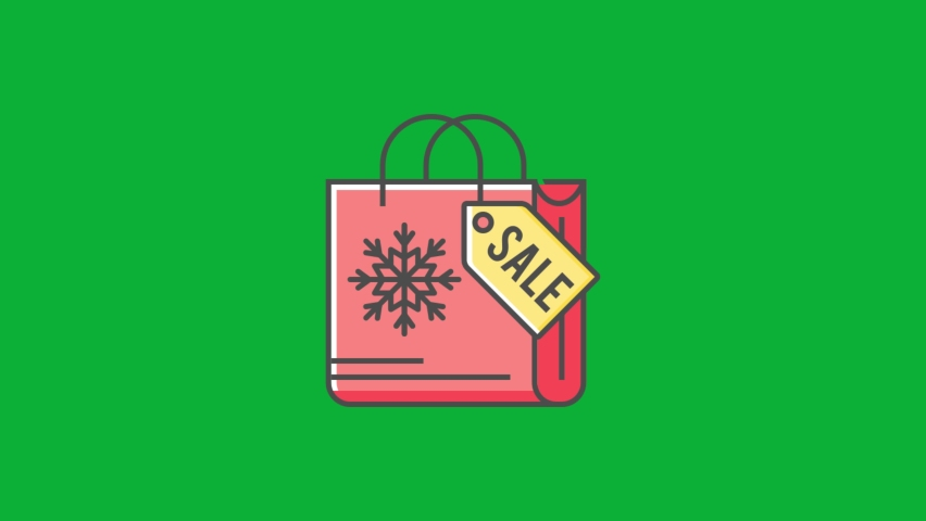 Christmas Sale Shopping Bag - Christmas Offers icon - cartoon vector 4K animation on Green screen background - Christmas Gifts Bag on Chroma key background - Winter sale Sign  | Shutterstock HD Video #1061742952