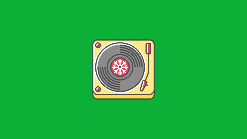Christmas Turntable Icon - Holidays songs Icon - Cartoon vector 4K animation on Green screen background - Christmas Jingles sign on Chroma key background   Shutterstock HD Video #1061742961