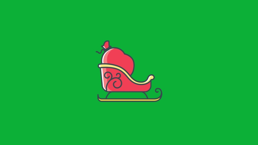 Santa sleigh icon - Santa Claus sleigh With Gifts Bag Cartoon vector 4K animation on Green screen background - Christmas sled on Chroma key background   Shutterstock HD Video #1061742964