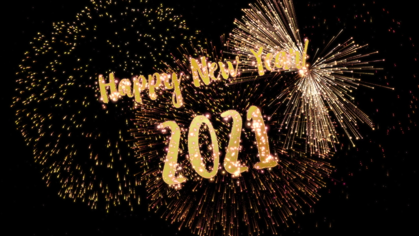 2021 Happy New Year greeting text with particles and sparks on black night sky with colored slow motion fireworks on background, beautiful typography magic design. | Shutterstock HD Video #1061743216