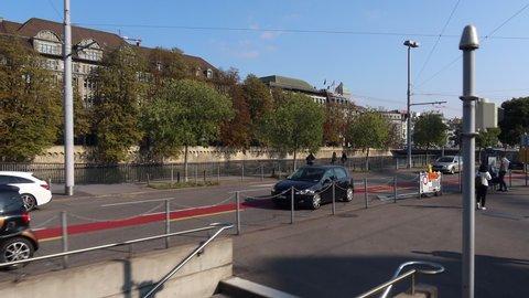 Zurich, Switzerland - September 29, 2020: Tram ride through Zurich city center