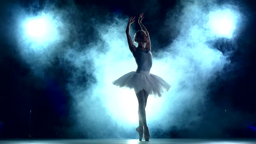 graceful ballerina doing a workout in the classroom. Smoke, fog, silhouette. ballet dancer in white tutu, girl in pointe, whirls around you, slow motion | Shutterstock HD Video #10617803