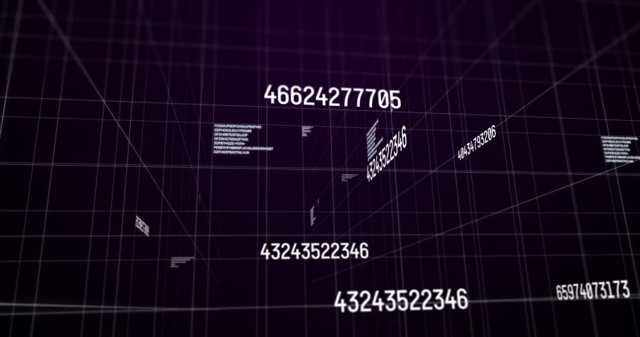 Animation of white numbers changing and data processing over glowing light trails, white grid on purple background. digital interface statistics mathematics science concept digitally generated image. | Shutterstock HD Video #1061782117