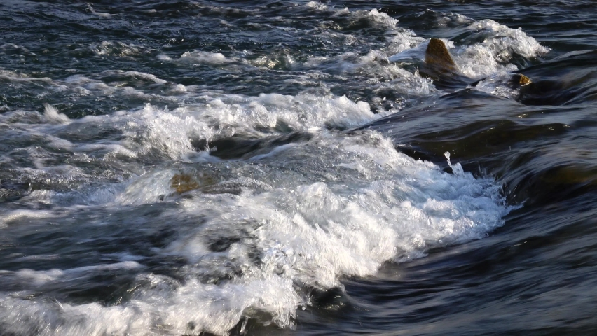 Mountain river flow on river rapids, background | Shutterstock HD Video #1061785141