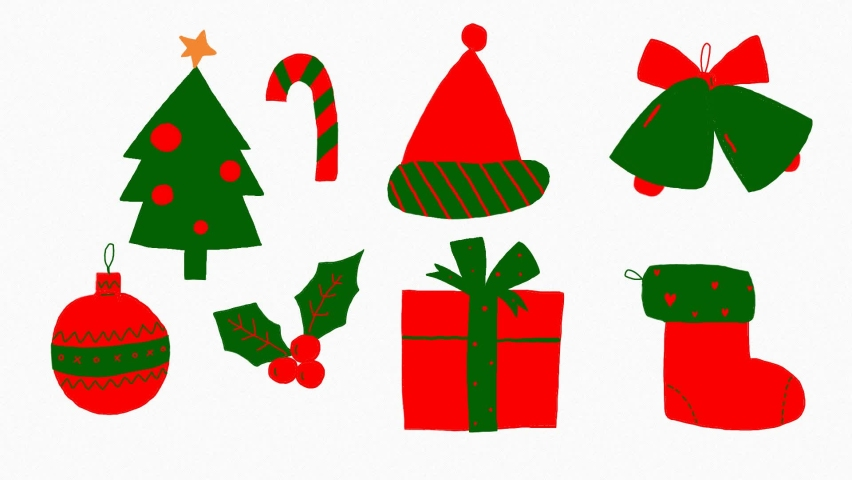 Cute element for Merry christmas.Hand drawn animation on white background. | Shutterstock HD Video #1061802499