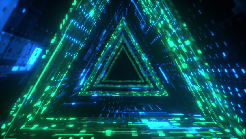 Triangle Neon tunnel. Futuristic interface pattern. Glowing hi technology texture. Abstract motion background. Cyber punk concept. Seamless loop. Green and blue 4K Royalty-Free Stock Footage #1061821645