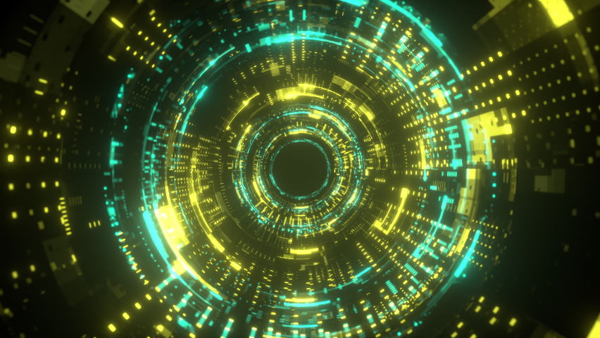 Neon tunnel. Futuristic interface pattern. Glowing hi technology texture. Abstract motion background. Cyber punk concept. Seamless loop. Green andd yellow color. 4K | Shutterstock HD Video #1061821657