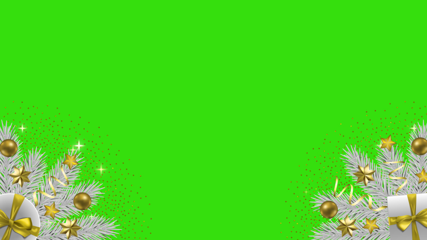 Christmas and New Year with gift Greeting looping animation on green screen.