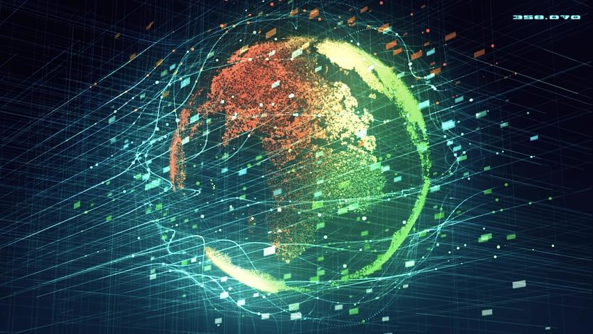 4K Big Data Earth Hologram   Shutterstock HD Video #1061847736