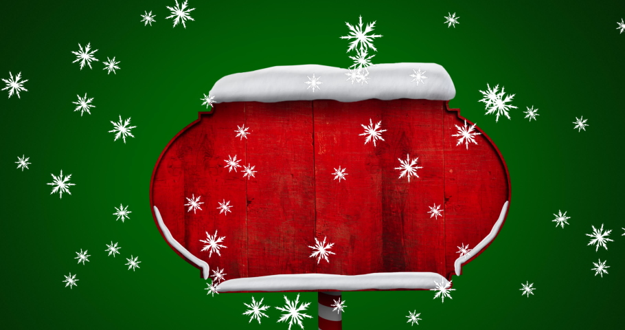 Digital animation of snowflakes falling over red wooden sign post against green background. christmas festivity celebration tradition concept   Shutterstock HD Video #1061854219