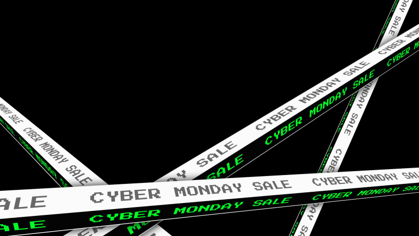 Cyber Monday sale text moving motion graphic animation,Cyber Monday concept alpha channel included (transparent background).