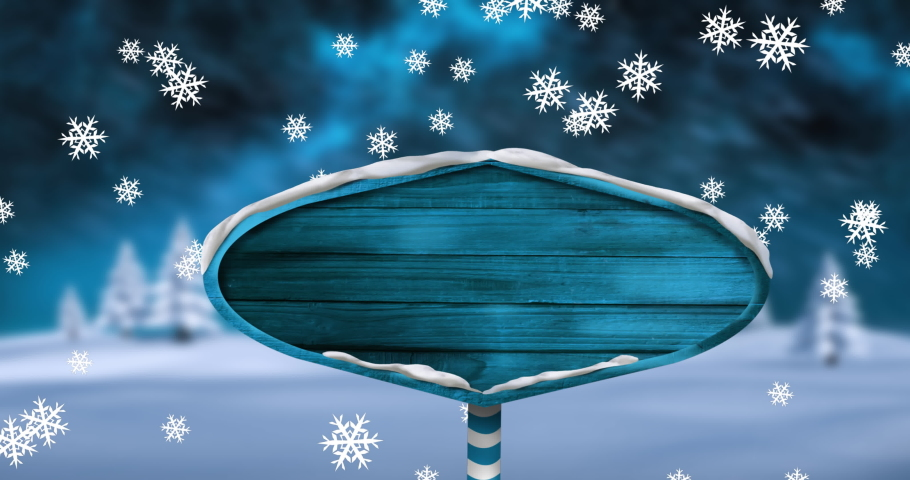 Digital animation of snowflakes falling over blue wooden sign post on winter landscape against night sky. christmas festivity celebration tradition concept | Shutterstock HD Video #1061859001