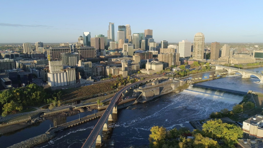 Aerial Of Historic Downtown Minneapolis On Beautiful Summer Morning Royalty-Free Stock Footage #1061865574