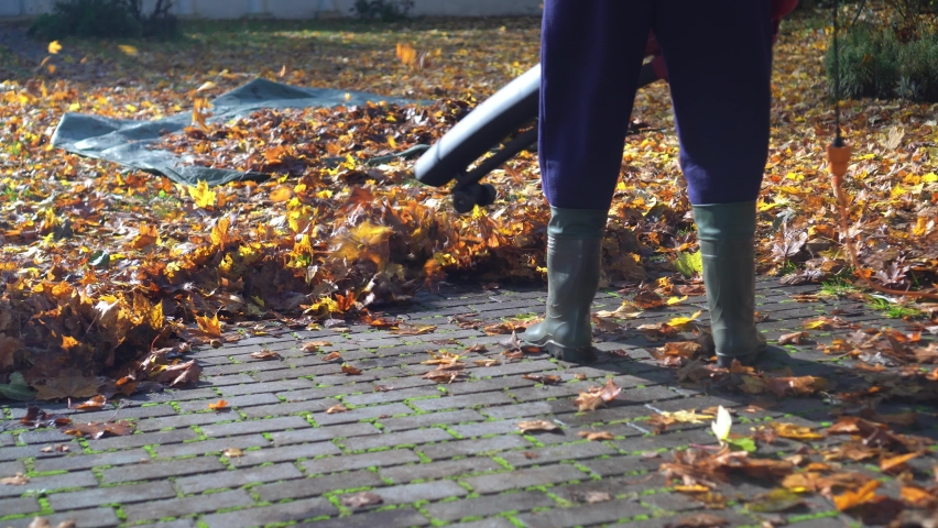 Unrecognized gardener blowing leaves from footpath or road with leaf blower. Gimbal motion shot | Shutterstock HD Video #1061876059