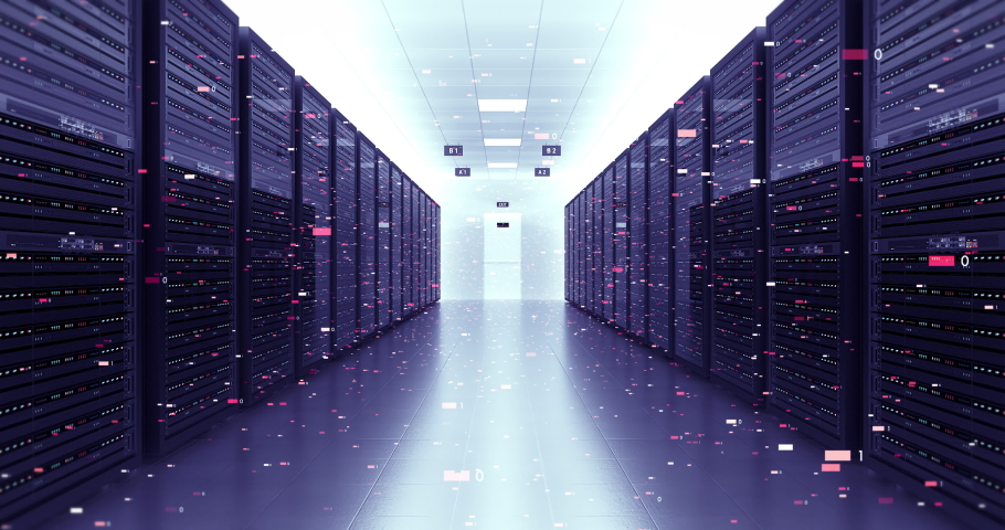 Server Racks In a Modern Data Center. Camera Slowly Moving Forward. Flying Numbers. Technology Related 4K Cg Animation. Royalty-Free Stock Footage #1061880550