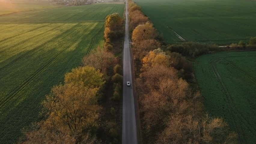 Aerial view Electric Car Driving on Country Road. Luxury modern vehicle riding fast along trees and fields. Cinematic drone shot flying over gravel road with trees at sunset Royalty-Free Stock Footage #1061886325