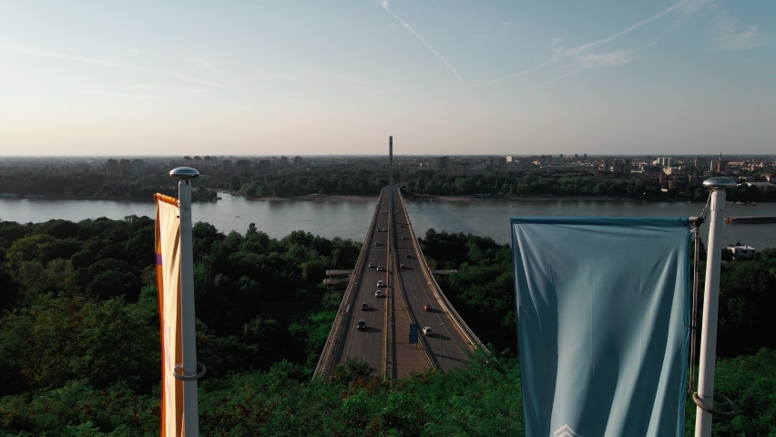 Novi Sad city on the Danube river from air. Aerial footage from drone bridge of Liberty in Novi Sad. | Shutterstock HD Video #1061890309