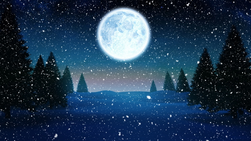 Digital animation of snow falling over multiple trees on winter landscape and black silhouette of santa claus in sleigh being pulled by reindeers against moon in night sky. christmas festivity | Shutterstock HD Video #1061896957