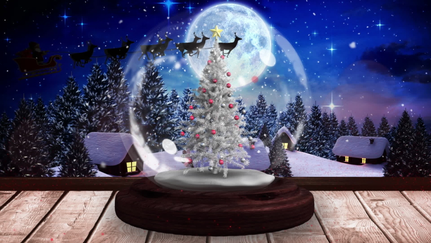 Digital animation of shooting stars spinning around christmas tree in snow globe on wooden surface against silhouette of santa claus in sleigh being pulled by reindeers against moon in night sky. | Shutterstock HD Video #1061897143