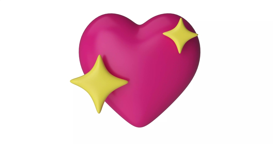 Iphone Emoji heart with the stars illustration. Pink Emoji Facebook reactions vector like social icon. Button for expressing social smileys. 3d render. | Shutterstock HD Video #1061897488