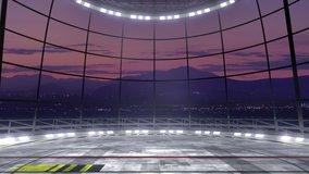 Virtual studio backdrop with spotlights. Seamless loop animation,