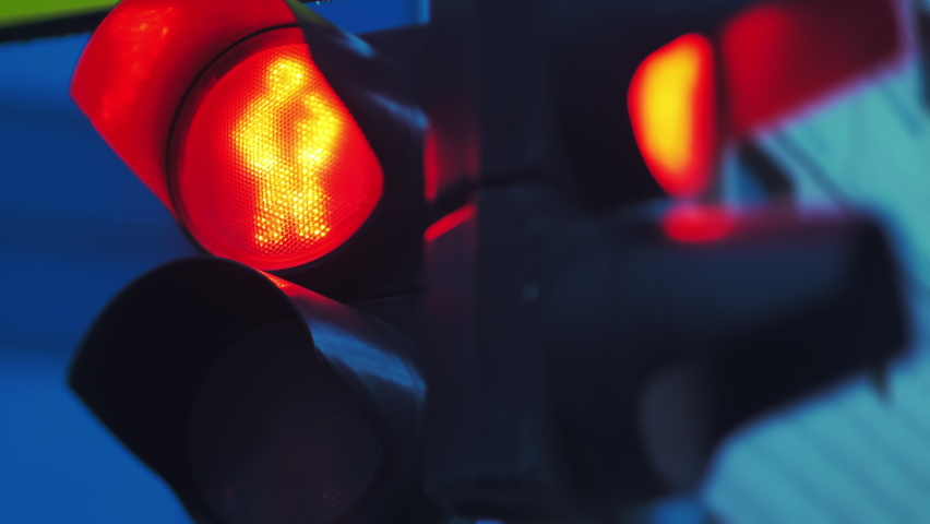 Close-up. Two traffic lights turn red and turn green. Countdown seconds. City life Royalty-Free Stock Footage #1061907028