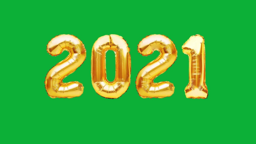 2021 New Year Golden Balloons - Realistic Gold 2021 Balloons 4K animation on Green screen background - Animated 2021 Glossy numbers Balloons on Chroma key background  Royalty-Free Stock Footage #1061920402