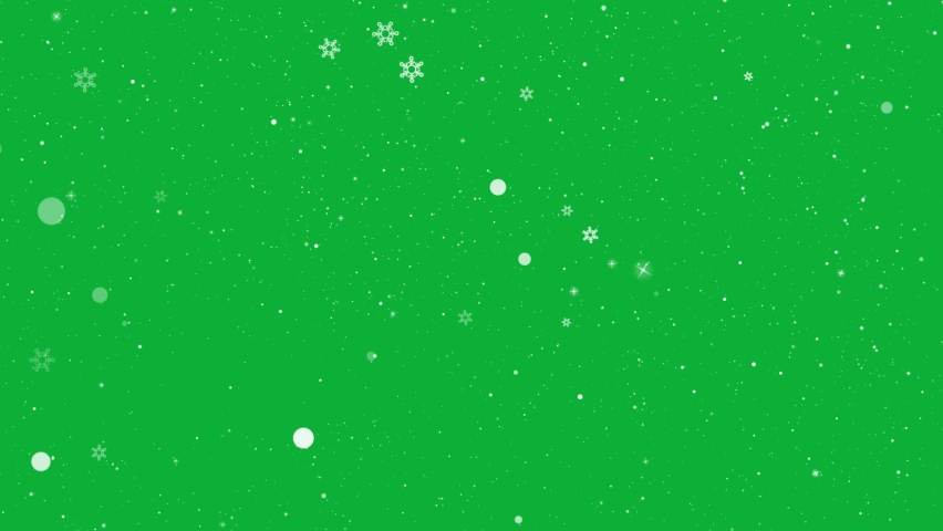 Christmas Falling snow with snowflakes - Snow falling down slowly 4K animation on Green screen - ( Endless Loop ) Holidays Snowfall with Snow Flakes on Chroma key background