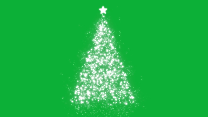 Silver And Golden particle wave in form of Christmas tree 4K Animation on Green screen background - Christmas Tree Sparkles Particles on Chroma key background