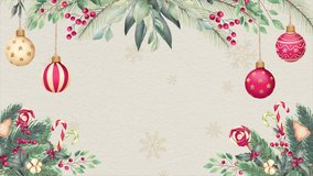 Christmas border Background - Christmas tree branches on Empty Backdrop for text - 4K animation Christmas decoration Backgrounds Package - Christmas border Frame backgrounds