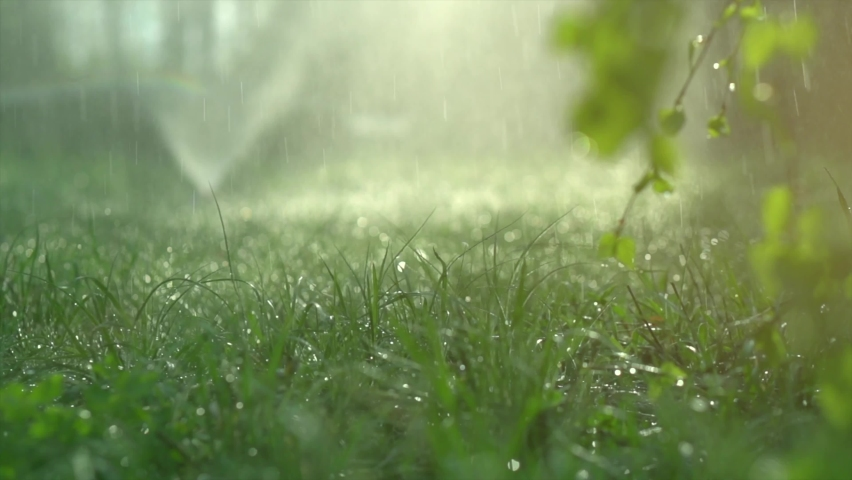 Sprinkler head watering green grass lawn. Gardening concept. Smart garden activated with full automatic sprinkler irrigation system working in a green park. Slow motion 4K UHD video