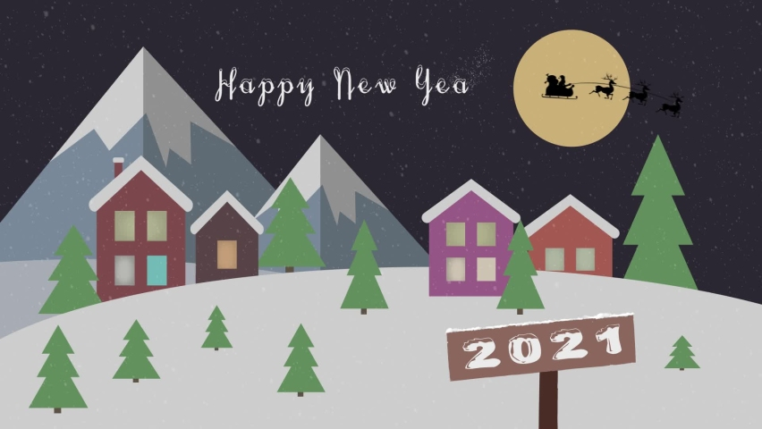 Happy new year 2021 festive background concept. Santa Claus and deer fly over the city. New Year's winter animation houses in the snowy mountains among the trees. Snow falls.