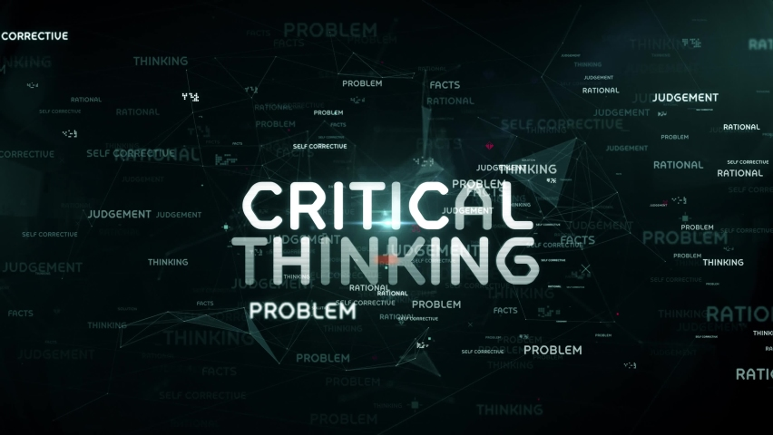 Critical thinking digital technology concept. Interface with the inscription. | Shutterstock HD Video #1061937874