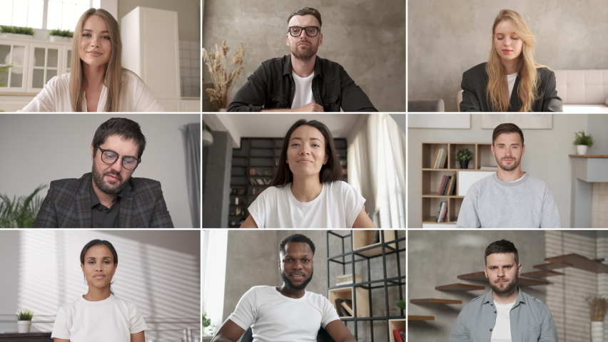 Discussing project online. Webcam view. Group video call. Remote communication of happy multiracial young people. Working from home office. Business chat conference. Colleagues communicate at meeting Royalty-Free Stock Footage #1061943181